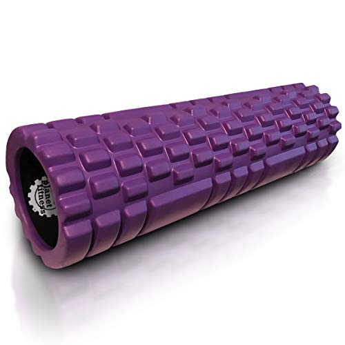 Planet Fitness Muscle Massager Foam Roller for Deep Tissue Massage, Back, Trigger Point Therapy, Purple 18'