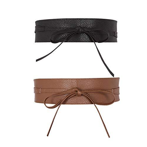 CHIC DIARY Damen Fashion Gürtel Breiter Taillengürtel Hüftgürtel Bindegürtel Ledergürtel in vielen Farben, Schwarz+Kamelhaarfarbe, Einheitsgröße