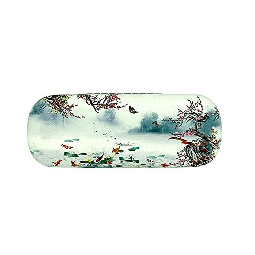Inlefen Estuche para gafas con pintura china Estuche rígido portátil para anteojos Estuche para anteojos Estuche para anteojos + Paño de limpieza para anteojos
