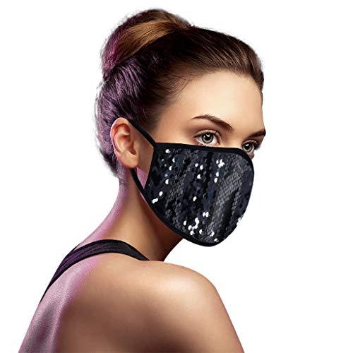 Skang Glitzer Mundschutz Multifunktionstuch Pailletten Mund-Nasenschutz Winddicht Atmungsaktiv Face Shield Mode Party Pailletten Halstuch Bandana Maske