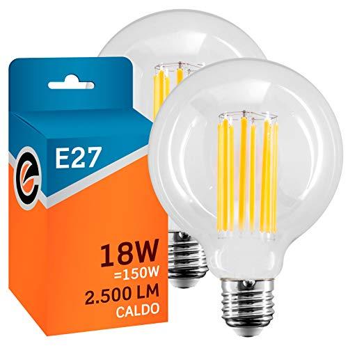 2x Lampadine LED a Filamento E27 18W Trasparente (2500 lumen equiv a 150W) - Globo G95 - Luce Bianco Caldo 2700K - Fascio Luminoso 330° Eurocali