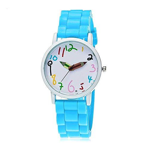 Puwind Reloj de pulsera de cuarzo reloj de pulsera de dibujos animados esfera de silicona banda de vidrio lente para niños niñas regalos azul claro