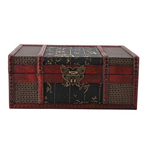 HEEPDD Holz Aufbewahrung Box, Vintage Large Size Buch Schmuck Aufbewahrungsbox Veranstalter handgemachte dekorative Stash Box Aufbewahrungsbox(Chinesischer Wind mit Schloss)