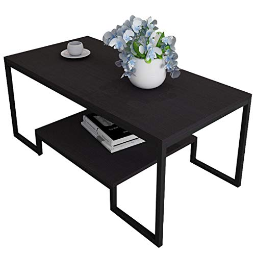 BHJqsy Coffee table Storage storage table side table living room double side console table Black walnut + black frame 100x50x42cm Nest Tables