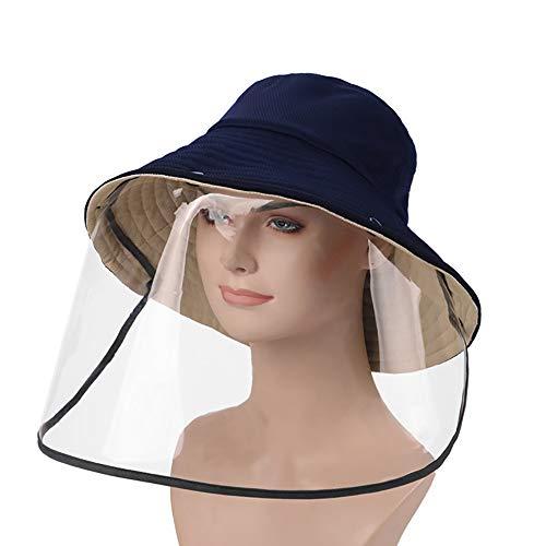 Visera protectora de la cara Sombrero, adultos protectora protector facial comprende los cascos Pescador sombrero con extraíble a prueba de polvo cubierta del protector de cara Splash,Navy+khaki