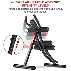 KESHWELL Ab Machine,Abs Workout Equipment for Home Gym,Whole Body Workout Waist Trainer for Women&Men,Adjustable Abdominal Cruncher,Foldable Core Abs Exercise Machine with Resistance Bands&LCD Display