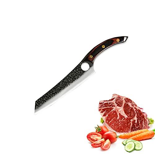 8,5 '' Zoll japanisches Sashimi-Messer 3Cr13 Edelstahl Chef Lachsmesser gebogener Holzgriff Filetierfisch schneiden Sushi-Messer (Color : B)
