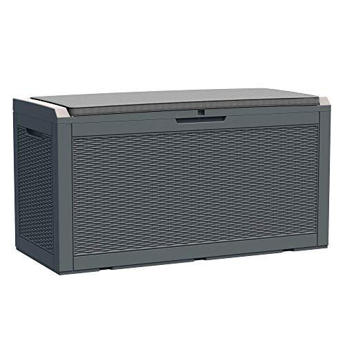 Outsunny Rattan Kissenbox Auflagenbox 380L Gartenbox mit Kissen Handgriff Garten Metall PP Grau 120 x 54,5 x 62,5 cm