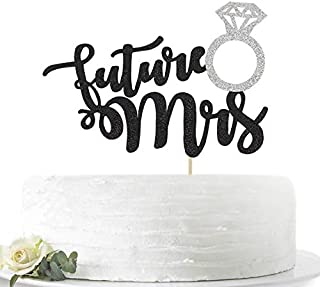 Glitter Future Mrs with Diamond Ring Cake Topper for Bridal Shower, Engagement, Bachelorette Party Decorations, Double Color Black and Sliver