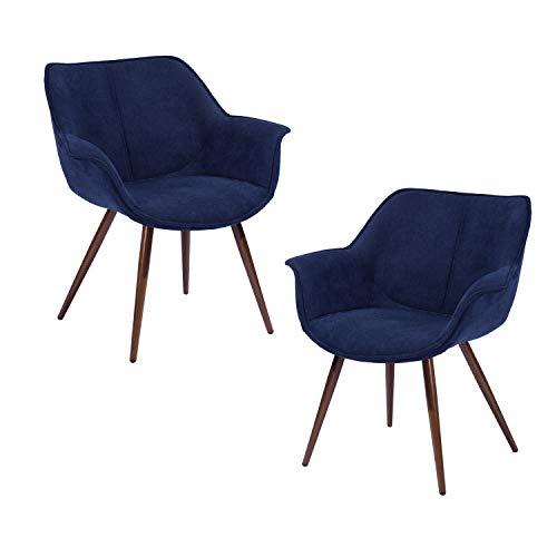FurnitureR Conjunto de 2 sillas de salón contemporáneas con Brazos, sillas tapizadas, sillas Acolchadas tapizadas Silla Acolchada nordica Azul