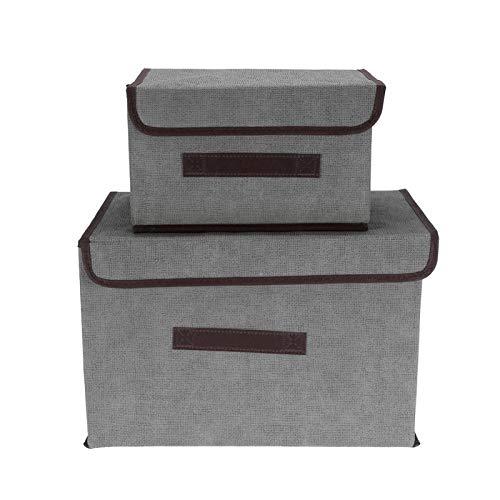 Emoshayoga Caja de Almacenamiento de Ropa Resistente 2 unids/Set Caja de Almacenamiento de Ropa Plegable Libros para Ropa decoración del hogar(Gray)