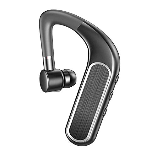 Bluetooth 5.0 Headset 10H Playtime, Single Wireless Earhook Bluetooth Earpiece Earphone with Mic Noise Cancelling Hands-Free Business Bluetooth Headphones Earbud for Cell Phones PC Tablets (Black)