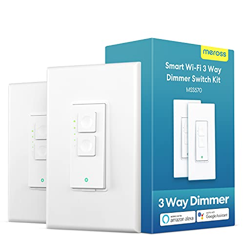 Smart 3 Way Dimmer Light Switch Kit, Meross WiFi Dimmer Switch for Dimmable LED Light, Halogen and Incandescent Bulb, Support Alexa, Google Assistant and SmartThings, Remote and Voice Control