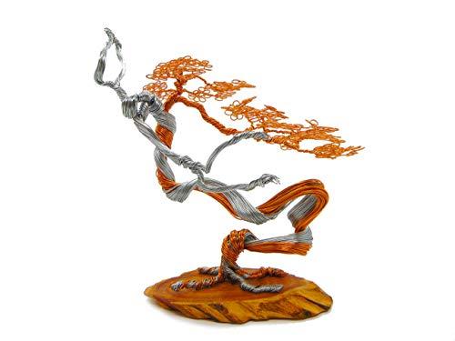 Mini Bonsai Copper Wire Tree Sculpture, Tree Sculptures Modern, Best Gift, Handcraft, Home Decor, Office Decoration by GREENHANDSHAKE (Gold)