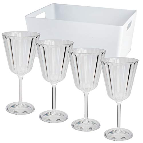 4 x Acryl Weinglas 220ml mit BOX elegante Kristall Glas Optik - klar - Gläser 4er Set - Weinkelch - Cocktailglas - Kunststoff Glas - Outdoor - Haushalt Küche - stabil - bruchsicher - leicht abwaschbar