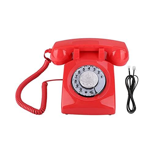 Teléfono retro, estilo clásico Vintage Dial Teléfono de teléfono de escritorio, línea telefónica Powered, para decoración del hogar y la oficina
