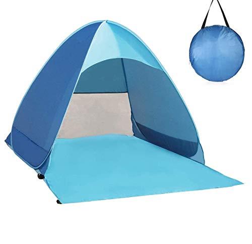 Nineaccy Strandmuschel, Tragbar Extra Light Strandzelt, Sun Shelter für 2-4 Personen Pop Up Strandzelt Extra Leicht Wurfzelt,Familien Portable Beach Zelt in Blau, Outdoor Tragbar Wurfzelt