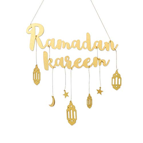 EUBEISAQI Ramadan Kareem Letters Wall Hanging Moon Garland Decor Home Decoration Art Ornaments for Bedroom Living Room Dorm