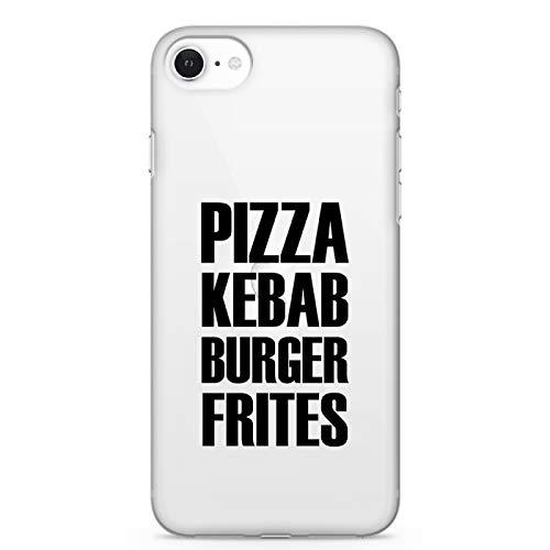 ZOKKO - Carcasa para iPhone 5/5S/SE Pizza Kebab Burger Patatas Fritas – Flexible Transparente Tinta Negra
