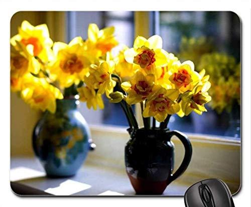 Wunderschönes Blumenspiel-Mauspad, Vasen mit Narzissen-Mauspad, Mousepad