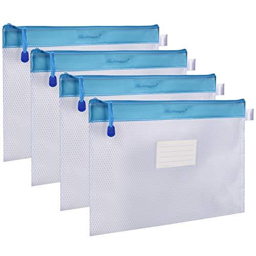 ジッパー式ファイル袋 Wisdompro A4判 撥水 網目 收納袋 ファイルバッグ クリアホルダー オフィス用品 旅行収納 PVC製 厚型 4枚入り ブルー