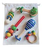 Cesto de los tesoros Montessori Musical con bolsa de tela - Los sonidos - Instrumentos y juguetes musicales de madera para bebe y niños - Sonajeros maracas castañuelas cascabeles anillas - heurístico