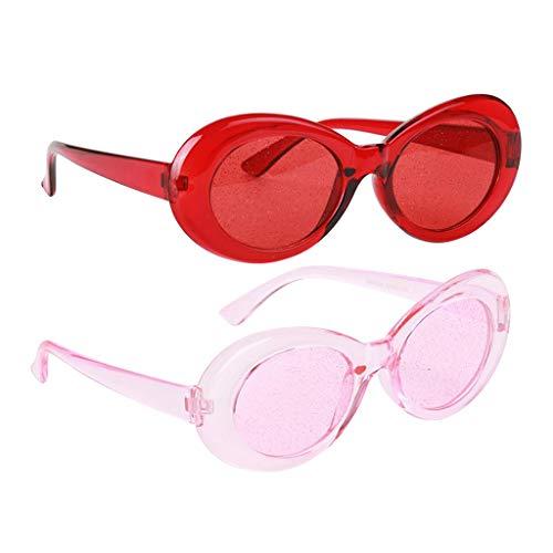 Hellery Pack Von 2 Retro Transparent Clout Brille Neuheit Kurt Cobain Brille Cocktail Sonnenbrille