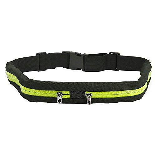 FYSHOP Riñonera Running Cinturón Belt Impermeable Belt Cinturón Deportivo con 2 Bolsillos Prueba de Sudor