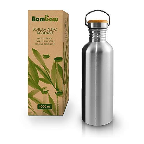 Bambaw Botella Agua Acero Inoxidable 500ml | Botella Ecológica | Cantimplora De Acero Inoxidable | Fácil De Limpiar | Botella De Agua Reutilizable | Botella Agua Niños | Botella Libre BPA