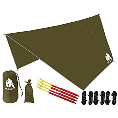 Chill Gorilla Hex Hammock Rain Fly Tent Tarp Waterproof Camping Shelter. Essential Survival Gear. Stakes Included. Lightweight. Easy to Setup. Camp Accessories. OD Green