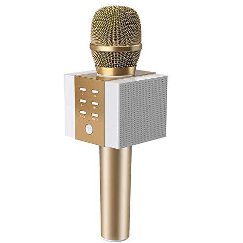 TOSING 008 Draadloze Bluetooth-karaokemicrofoon, 3-in-1 draagbare handheld karaoke-microfoon Nieuwjaarsgeschenk Home Party Verjaardag Luidsprekermachine voor Android/pc en smartphones. (goud)