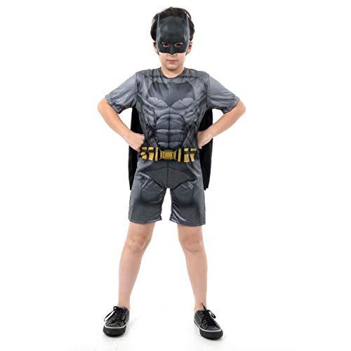 Fantasia Batman Curto Com Musculatura Infantil 910890-m Sulamericana Fantasias Cinza/preto M 6/8 Anos