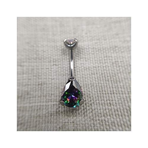 GSZP XF 14G rosca interna grado ombligo anillo Nave ombligo joyería pendientes para mujeres (color: arco iris, tamaño: 14G 10mm)
