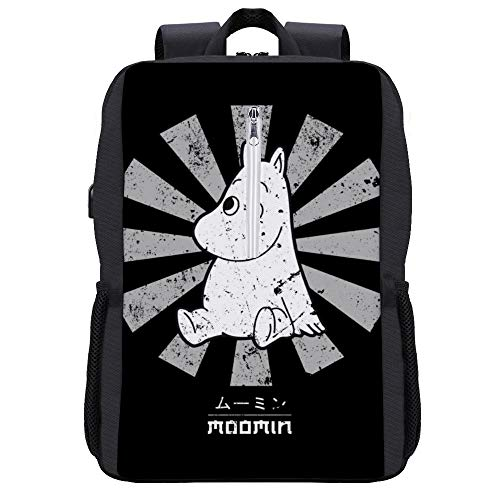 Moomin Retro Japanese Backpack Daypack Bookbag Laptop School Bag with USB Charging Port