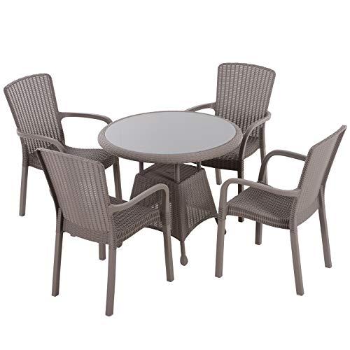 Outsunny Gartenmöbel Set, Fünfteiliges Sitzgruppe, Sitzgarnitur, 1 Tisch + 4 Stühle, Stahl, PP Rattan, Grau, 53 x 60 x 92 cm (Stuhl), Ø90 x H76 cm (Tisch)