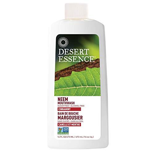 jason neem oils Desert Essence Natural Neem Mouthwash - Cinnamint Flavor - 16 Fl Oz - Reduce Plaque Buildup - Tea Tree Oil - Neem Leaf Extract - Peppermint - Complete Oral Care - Refreshes Breath - Aloe
