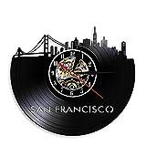 Reloj de pared con registro de vinilo del horizonte de San Francisco, reloj de pared con vista a la ciudad, decoración del puente Golden Gate, reloj de viaje, punto de referencia de 12 pulgadas