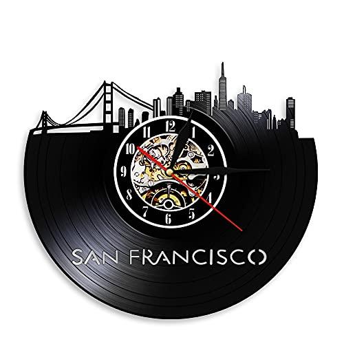 Usmnxo Reloj de Pared Vista de la Ciudad Disco de Vinilo Decoración del hogar Reloj Skyline Área de la bahía Puente Golden Gate con luz LED 12 Pulgadas (30 cm)