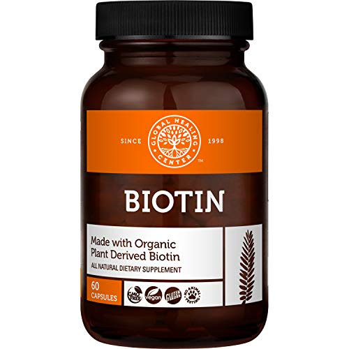 Global Healing Biotin (Vitamin B7) Capsules from Natural Sesbania Extract to Support Radiant Skin, Strong Nails, and Healthy Hair Growth for Men & Women - Non-GMO, Vegan Supplement - 2500mcg, 60 Ct