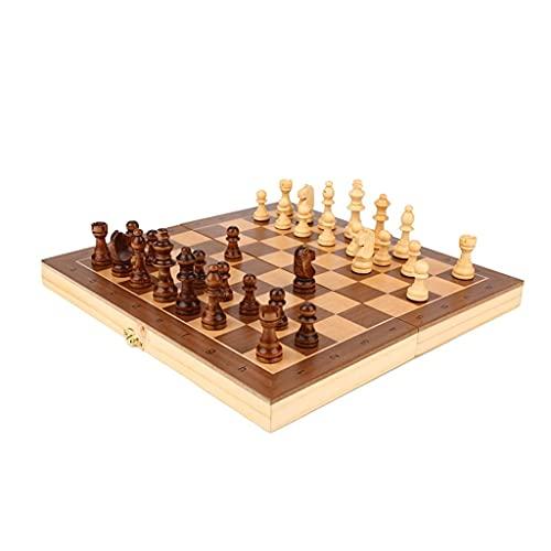 Cxcdxd Juego de ajedrez magnético para Principiantes de ajedrez Internacional Borad de ajedrez Plegable portátil con Ranura de Almacenamiento Piezas de ajedrez de Madera (tamaño: 29 cm)
