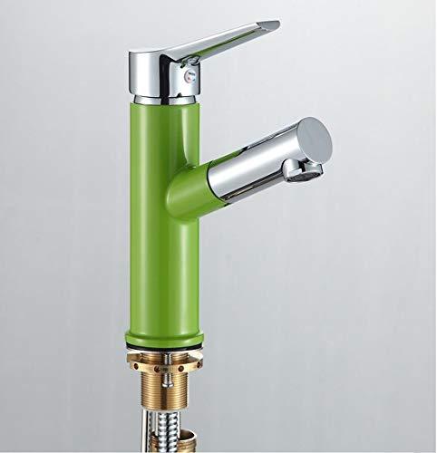 Sucastle Professionel Einhand-Spültischarmatur, Einzelgriffhebel Ziehen Sie Art Hahn, Küchenspülen-Becken-Mischbatterien(Grün)