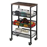 MOOACE Kitchen Cart on Wheels, 3-Tire Metal Mesh Rolling Utility Cart with Wood Top, Multifunction Wire Basket Shelf Trolley for Home,Bathroom,Living Room(Black)