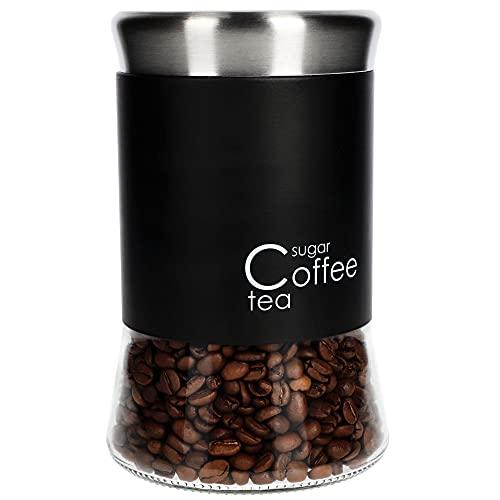 KADAX Glasbehälter, Behälter für Kaffee, Blättertee, Kaffeebehälter, Teebehälter, Zuckerbehälter, Frischhaltedosen, Vorratsdosen (1000ml, schwarz)