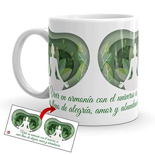 Kembilove Tazas de café diseño de Yoga – Taza de café Inspirada en Buda y Abundancia...