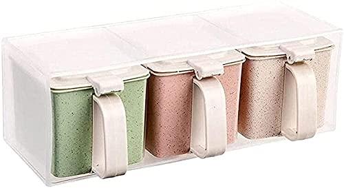 Gekleurde plastic smaakstofdozen 3 afzonderlijke kruiderij opslagcontainers voor kruiden Zoute wijnaroma's tanks met…