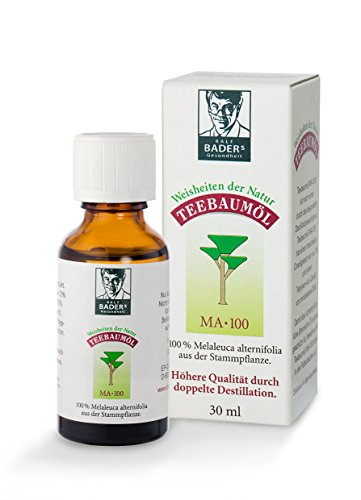 BADERs dalla farmacia. Olio di albero del tè. Tea tree essential oil. Disinfettante. 100% Melaleuca alternifolia. Doppia distillazione. 30ml