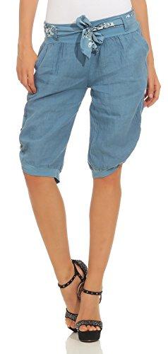 Mississhop 281 Damen Capri 100% Leinen Bermuda lockere Kurze Hose Freizeithose Shorts...