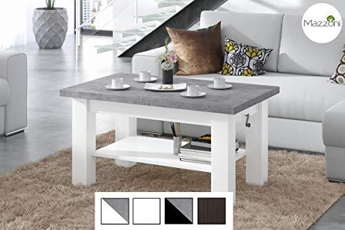 Design Couchtisch Tisch Astoria Beton Betonoptik/Weiß matt stufenlos höhenverstellbar 57-69cm ausziehbar 110-150cm mit Ablagefläche Esstisch