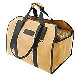 CARBABY 薪バッグ 2way使用 ログキャリー 薪ケース 持ち運び用 ハンドル付き ストーブアクセサリー 帆布製 防水(カーキ色)