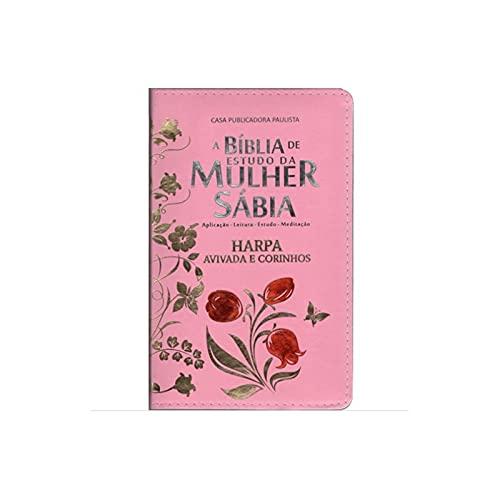 A Bíblia de Estudo da Mulher Sábia com Harpa Avivada e Corinhos (Tulipa Rosa)